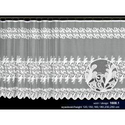 Firana żakardowa prosta nr 1608 (pasy liściastych wzorów)