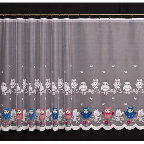 Firana żakardowa prosta nr 4321 wzór Sówki malowane
