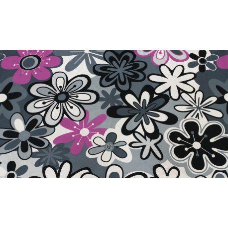 TKANINA TAMA DRUK NR 9551 - Kwiaty Hawajskie Fioletowe