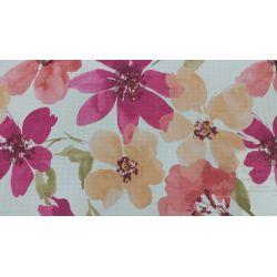 PIĘKNE MATOWE ZASŁONY DRUK NR 0547 - Kwiaty Akwarele Jasne