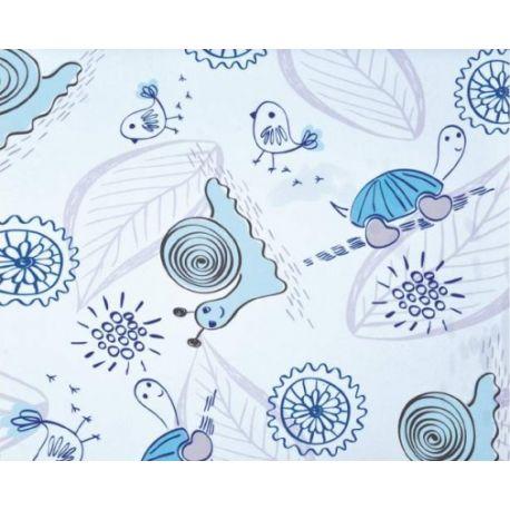 TKANINA AMAT DRUK NR 8127 - Ślimaczki i żółwie niebieskie