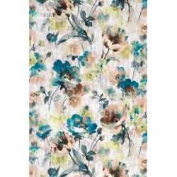 ZASŁONY na taśmie 155 x 235 CM (turkusowe kwiaty druk 2123)