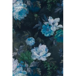 TKANINA Druk L Magnolie niebieskie retro wzór 2142 vintage flower